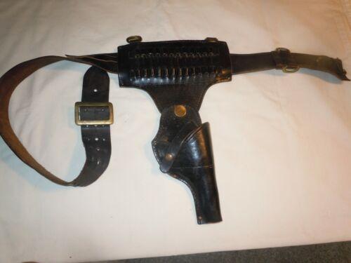 Vtg Leather POLICE BELT w/ Bradley E Grimes Co #3005 38 Special Revolver Holster