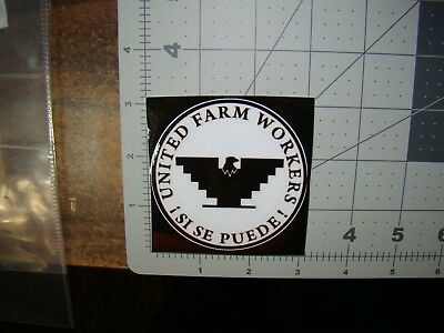 white United Farm Workers sticker Si Se Puede sticker UFW sticker Huelga sticker