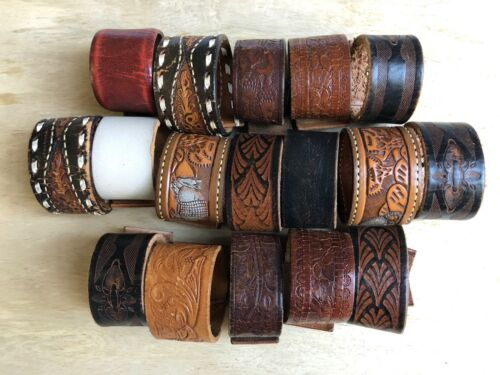 Lot of 17 Artisan Vintage Leather Belt Bracelets Cuffs Resale Women SMALL SIZES