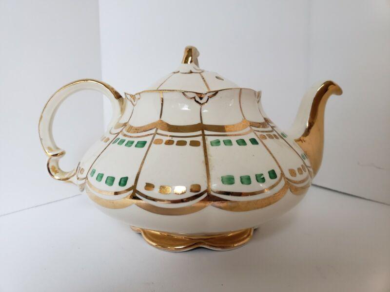 Very rare, Vintage - Ellgreave Burslem England Teapot Ivory/Gold Numbered...