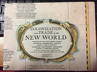 1977 NATIONAL GEOGRAPHIC MAP OF COLONIZATION AND TRADE IN THE NEW WORLD