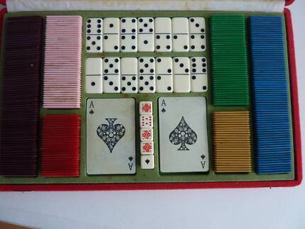 Two in One Game Set - Dominoes and Cards with chips