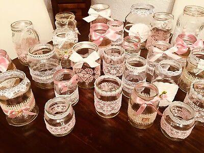 Rosa Vintage Tee (Vintage hochzeit Deko Set 25teilig Shabby Spitze Vasen Teelichthalter rosa)