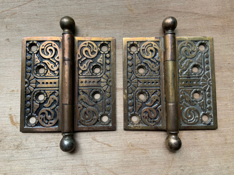 "Pair Beautiful K&D Vintage Eastlake Cannon Ball Door Hinges 4"" by 4"" Restore"