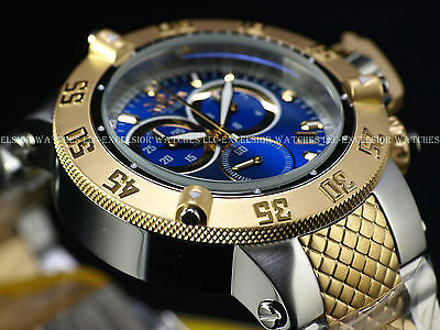 New Invicta Mens Subaqua Noma III Swiss Chronograph TwoTone 18KGIP Blue SS Watch