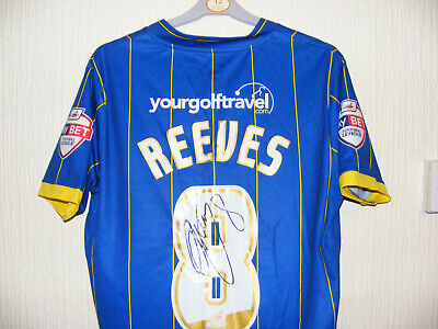 AFC Wimbledon 30th MAY 2016 Play off Final 8 REEVES player shirt Signed B & F image
