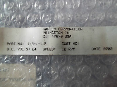 New Hansen 24 Volt Dc Electric Motor With Gear Reducer 12rpm Output