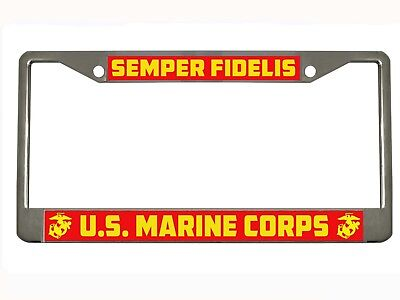 Marine Corps License Plate Frame (SEMPER FIDELIS US MARINE CORPS Metal Auto License Plate Frame Car Tag Holder )