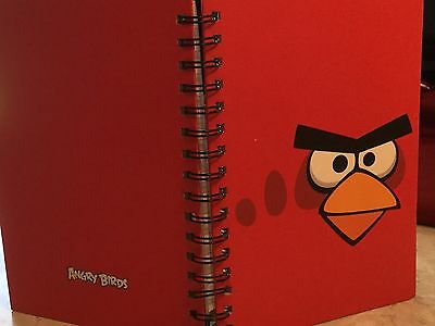 "Red Embossed Angry Bird Face Blank Lined Illustrated Pages Journal 6"" x 8.5"""