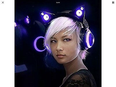 Wired Cat Ear Headphones Purple