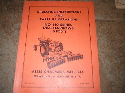 Allis Chalmers 110 Series Disc Harrow Operators Manual Parts Catalog