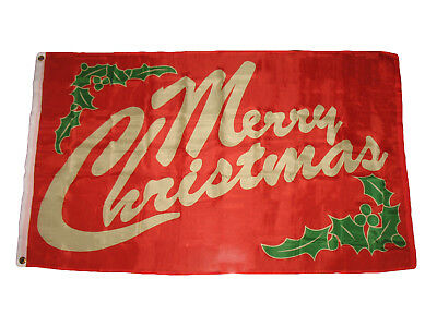 3x5 Merry Christmas Mistletoe Lettering Flag 3'x5' House Ban