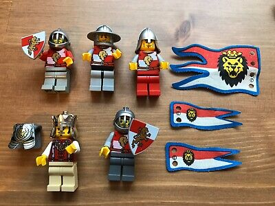 LEGO x5 Lion Knight Minifigure Lot King Shields and Weapons Flags Castle