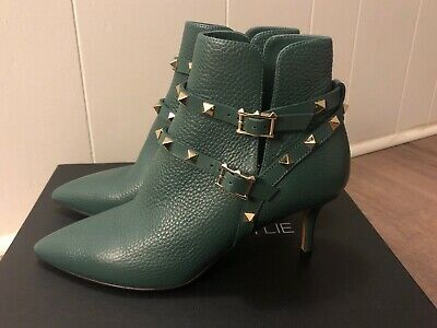 Used, Valentino Green Leather Gold Rockstud Pointed Toe Ankle Boots 37 size for sale  Philadelphia