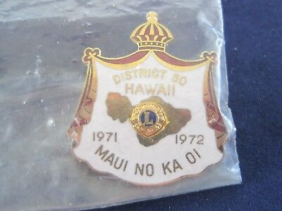 District 50 Hawaii 1971-1972 Lions Pin in Wrapper