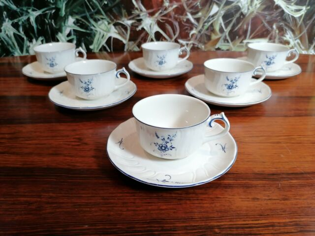 Villeroy & Boch Germany Luxembourg Old - 6 Tea Coffee Cups With Saucers