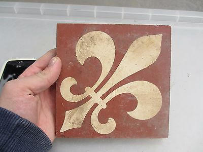 Original Victorian Ceramic Floor Tile Architectural Antique 1800's Vintage Old