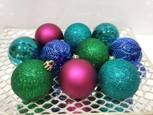 "10 Peacock Christmas Blue Teal Magenta Green Glitter Ball Ornaments Decor 2.5"""