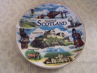 """SCOTLAND Porcelain Souvenir Plate 8"""" Gold Trim Balmoral Castle Forth Bridge"""