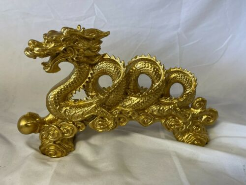 Chinese Gold Dragon Figurine Statue Home Table Ornaments for Luck & Success rare