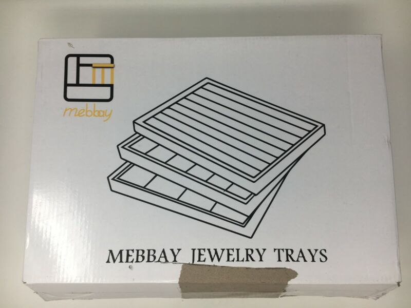 """""""New - Sealed"""" - Mebbay Stackable Gray Velvet Jewelry Trays"""
