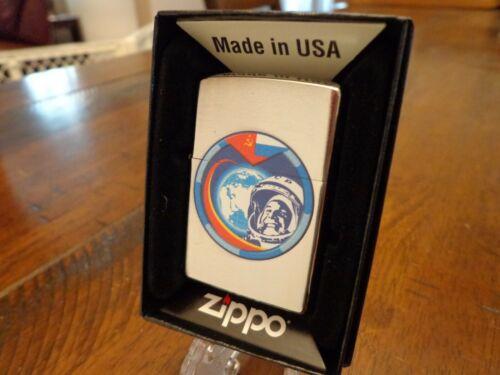 COSMONAUT YURI GAGARIN RUSSIA SPACE MOON BRUSH CHROME ZIPPO LIGHTER MINT 2020