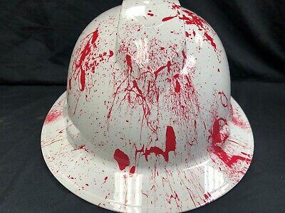 New Full Brim Hard Hat Custom Hydro Dipped Blood Splatter. Free Shipping