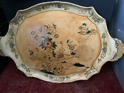 Victorian Antique Papier Mache Tray, Oriental Birds  Hand Painted Uk P/p Include