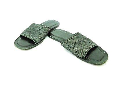 Auth GUCCI GG Black Jacquard & Leather Sandals Men