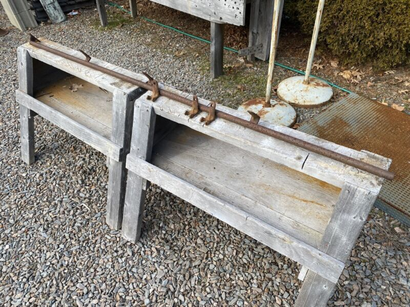 """Antique 73""""L Track for Barn Door Rollers, Pipe/Tube Style ~ Maine Barn Find"""