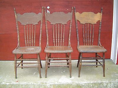 (3 Matching High Back Solid Seat Pressed Back Chairs - Late 1800's - L@@K  )