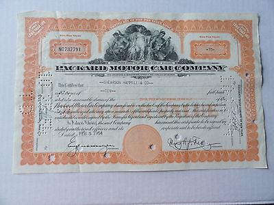 Packard Motor Car Automoblie Stock Certificate 10 Shares 1954