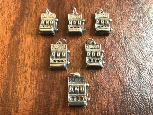 LAS VEGAS CASINO JEWELRY 6 SLOT MACHINE PEWTER CHARMS All New.