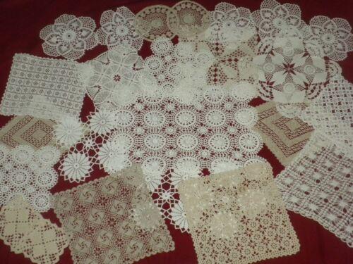 **Vintage Handmade  Lot Of 25 pcs Cotton Crochet Lace Doilies**