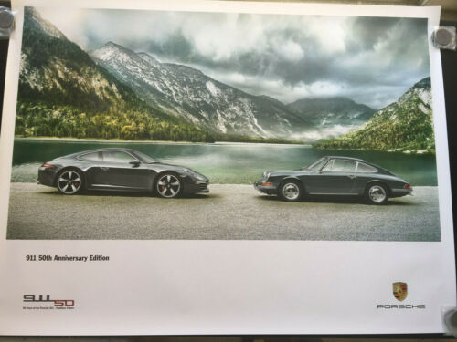 PORSCHE 991 911 50th ANNIVERSARY & 1964 911 AT LAKE SHOWROOM POSTER 2013 NEW.