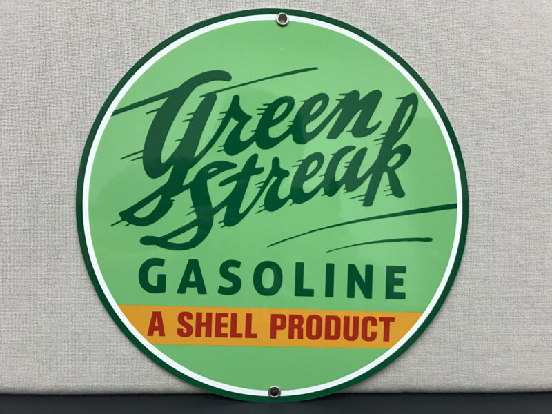 Shell Green Streak gasoline metal round sign oil vintage reproduction