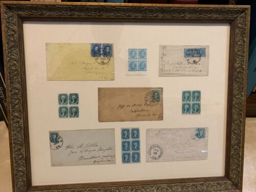 Beautiful Collection of Confederate Covers and Mint Stamps -  Framed