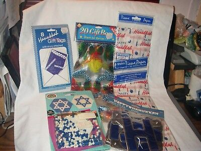 JEWISH HEBREW HANUKKAH CHANUKAH DESIGN LOT #1 OF 5 ITEMS TAGS BANNER BAGS CRAFT