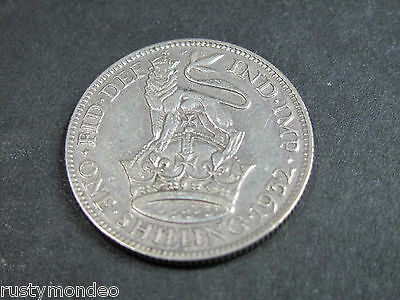 (1) King George V, 1932, .500 Silver' Shilling. Grade Very Fine