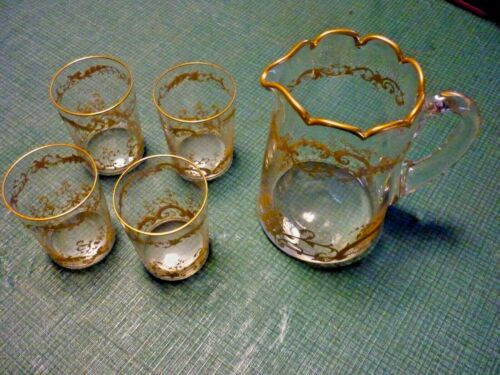 """Antique French Crystal 6.5 """" Pitcher Set Gold Rim and Trim W Four 3.5"""" Tumblers"""