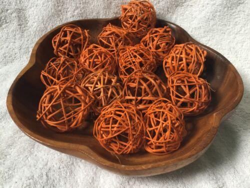 Harvest Basket Twig Balls 20pc Fall decor 2 inches orange Bowl Fillers