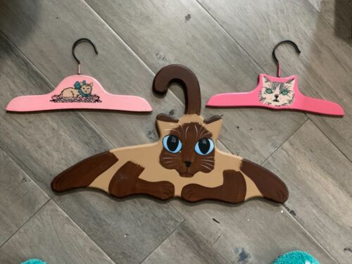"""3 vintage cat hangers -10"""" and 16"""""""