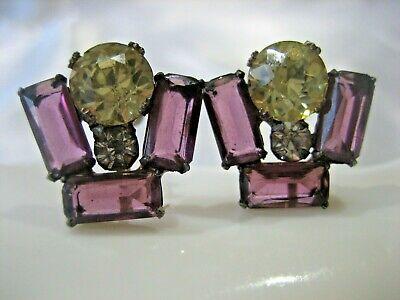 1920s Art Deco Jewelry: Earrings, Necklaces, Brooch, Bracelets ESTATE VINTAGE ART DECO STERLING SILVER PURPLE RHINESTONE SCREW BACK EARRINGS $19.98 AT vintagedancer.com