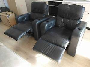 Two genuine leather home theatre reclining lounges Kingston South Canberra Preview
