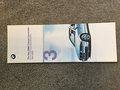 BMW 3 series Convertible  Price list May 2000   Brochure in EXCELLENT CONDITION  Bmw 3 Series Convertible Price