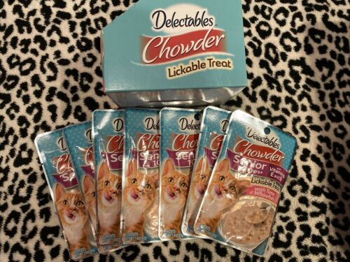 HARTZ DELECTABLES SEAFOOD CHOWDER FOR SENIOR 10 YEARS+LICKABLE TREATS, 7 pouches