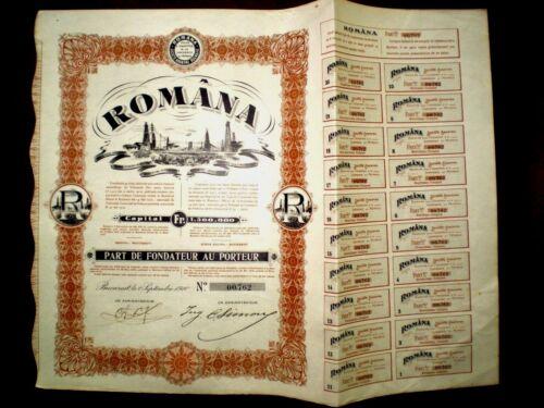 Româna, oil share certificate 1910  Romania   VG/F