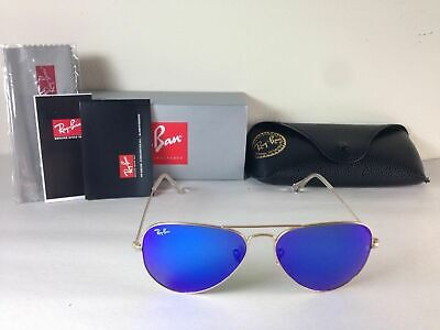 Ray Ban Aviator Sunglasses Gold Frame with Blue Flash Mirror Lens 58mm