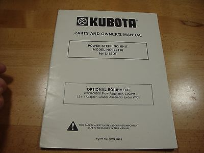 Kubota L9110 Power Steering Unit Owners Manual Parts Catalog L185dt