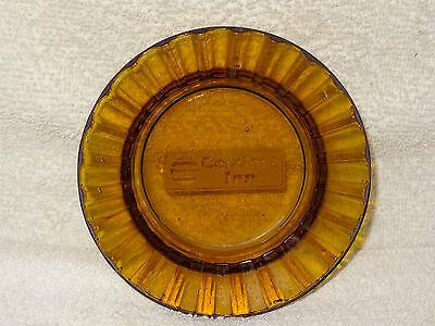 Vintage Comfort Inn Amber Pressed Glass Ashtray